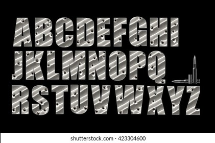 Bullet Holes alphabet set on black with clipping path included. Set A-Z