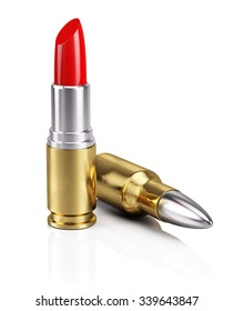 Bullet Lipstick isolated on white - Killing Beauty Concept