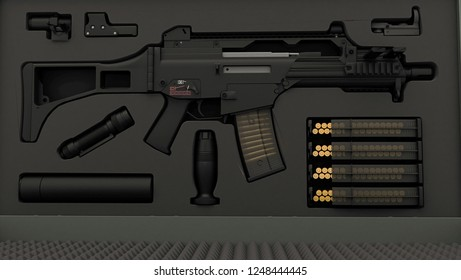 Bullets, cartridges, weapons, war, assault, 3d illustration on isolated white background