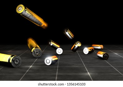 Bullets and shells of a firearm, 45-50 mm. Gun ammunition on a black background. 3d rendering. Campaign against firearms