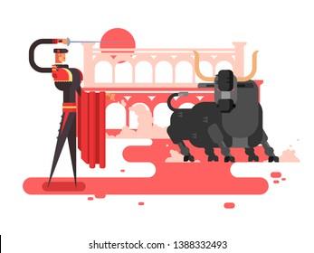 Bullfighting charcter man. Spain toreador, spanish tradition, entertainment and costume, picador performance, illustration