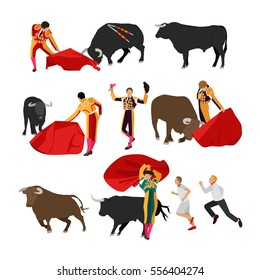 Bullfighting set of corrida people. Public traditional performance in Spain. Matador, bull, red cape and picador icons in flat design.