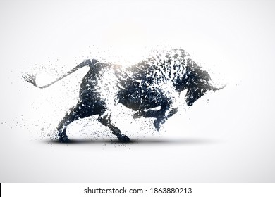 Bullfighting silhouette on a silver background. Black and white particles.