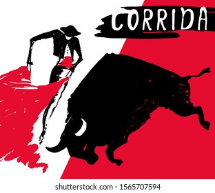 Bullfighting. Сorrida.Graphic silhouettes of the bull and toreador.Spain.