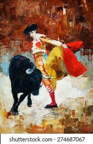 bullfighting in spain, oil painting,