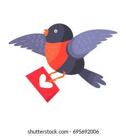 Bullfinch bird with red chest flying with envelope isolated on white. Bird holds mailing letter with heart. Cute cartoon greeting card design. Valentines day concept  illustration in flat style