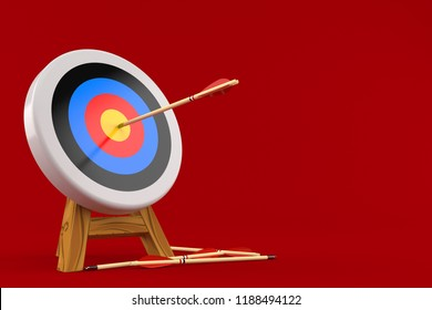 Bull's eye with arrows isolated on red background. 3d illustration