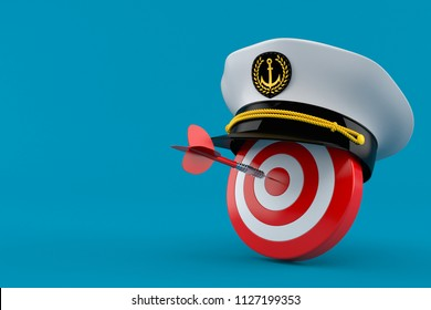 5f4f390645abf Bull s eye with captain s hat isolated on blue background. 3d illustration