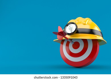 Bull's eye with miner hat isolated on blue background. 3d illustration