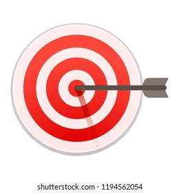 Bulls eye target icon. Cartoon of bulls eye target icon for web design isolated on white background
