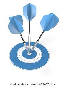 Bullseye. 3 blue dart arrows hitting center of target.