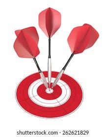 Bullseye. 3 red dart arrows hitting center of target.