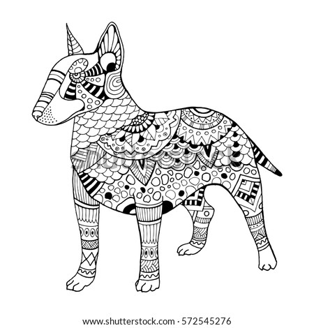 Bullterrier Dog Coloring Book Raster Illustration Anti Stress For Adult Tattoo