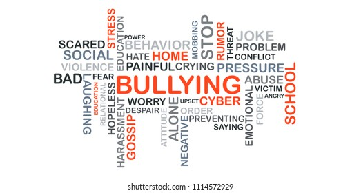 bullying concept word cloud on white blackground