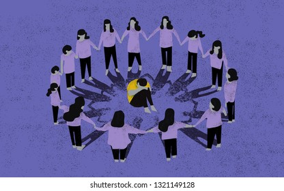 Bullying. Marginalized child. Concept illustration. Scene shows a child suffering harassment and marginalization from other children.