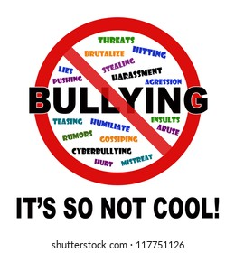 Bullying it's so not cool sign on white background.