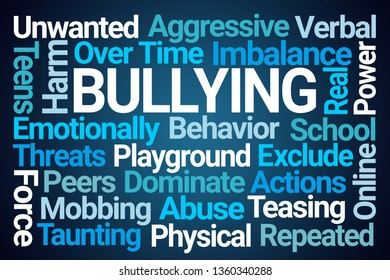 Bullying Word Cloud on Blue Background