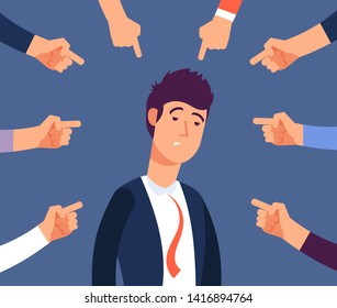 Bullying at work concept. Adult man get harassment by angry coworkers. Accus at office illustration. Victim person worker, stress on job, failure and unhappy