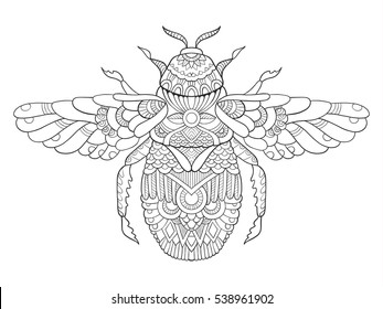 Bumblebee coloring book for adults raster illustration. Anti-stress coloring for adult. Tattoo stencil. Zentangle style. Black and white lines. Lace pattern