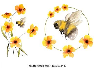 Bumblebee ou abeille sur fleurs en été, de belles oeuvres à l'aquarelle isolées sur blanc peuvent être imprimées sous forme de motif textile, de dessin de carte, d'élément d'invitation au mariage ou de symbole d'une production de miel