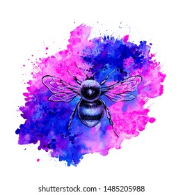 Bumblebee on the abstrack background. Watercolor illustration. Splashing art.