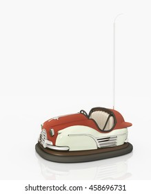 Bumper car against a white background Computer generated 3D illustration