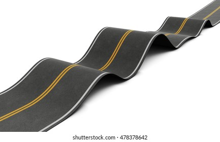 Bumpy road with ups and downs isolated on white background. 3d rendering.