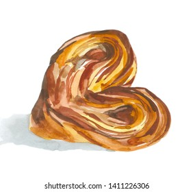 Bun with suger watercolor illustration for all prints on hand painting style.