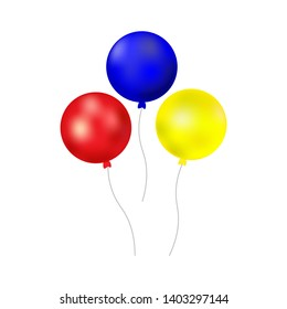 Bunch of balloons  isolated on white background. set.