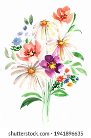 Bunch of blossom flowers watercolor illustration