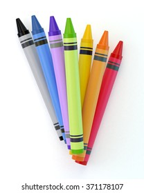 A bunch of colourful crayons. Isolated on a white background. Clipping path is included.