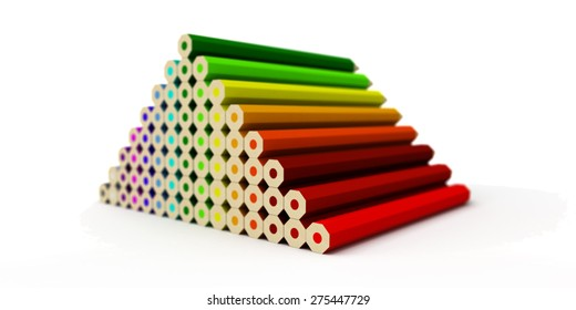 A bunch of fake 3D rendered color crayons (gradient) stacked on a white background with focus effect