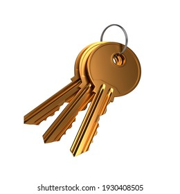Bunch of golden keys with ring isolated on white background. 3d render illustration