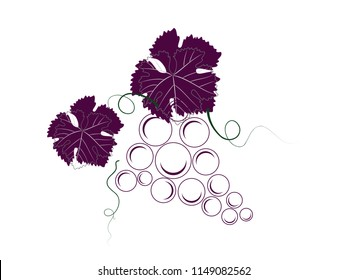 Bunch of grapes with leaves and tendrils