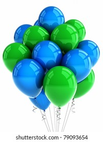 A bunch of green and blue party balloons over white background