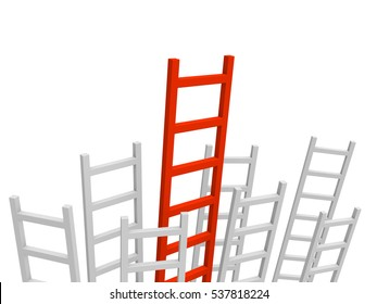 Bunch of grey ladders with longest red ladder in the center. 3d rendering.