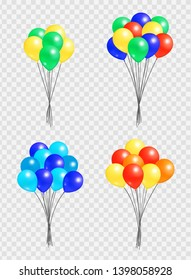 Bunch of helium colorful air balloons isolated on transparent background. blown rubber inflatable balloon multicolor creative elements with oxygen