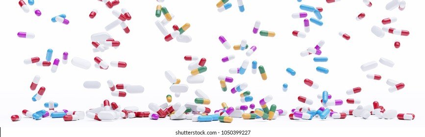 Bunch of pills on white background 3d rendering