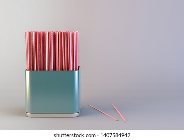 A bunch of plastic and non recyclable coffee stirrers in a blue tin can 3D render 3D illustration