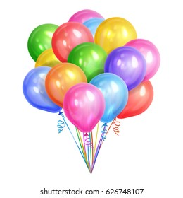 Bunch of realistic colorful helium balloons isolated on white background. Party decorations for birthday, anniversary, celebration