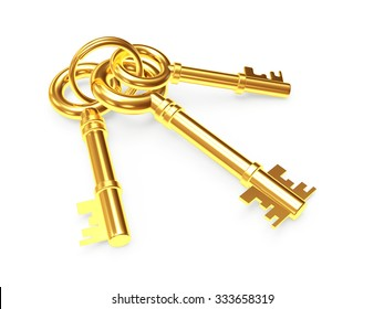 Bunch of three old golden keys isolated on white background