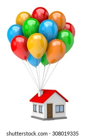 Bunch of Vibrant Color Balloons Raising Up an House Isolated on White Background 3D Illustration
