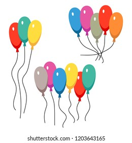 Bunches of several colour helium balloons