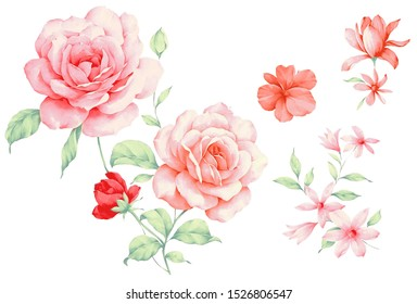 Bunches of watercolor hand-painted red romantic roses