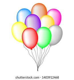 Bundle of colored balloons isolated on white background. For greeting card, invitation. Illustration for design.
