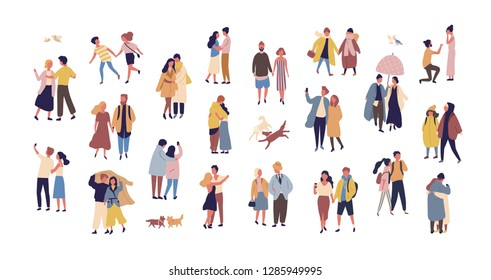 Bundle of couples dressed in seasonal clothes walking on street. Collection of men and women in love during romantic date isolated on white background. Flat cartoon colorful illustration