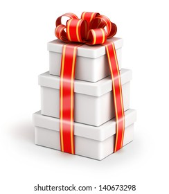 Bundle of gift boxes - gift chained by ribbons