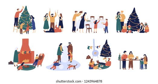 Bundle of people preparing for and celebrating winter holidays. Men, women and children decorating Christmas tree, serving festive table, sitting beside fireplace. Flat cartoon illustration.