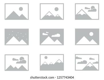 Bundle of Placeholder Wireframe Images for UI layout for webpage or app design, simple image