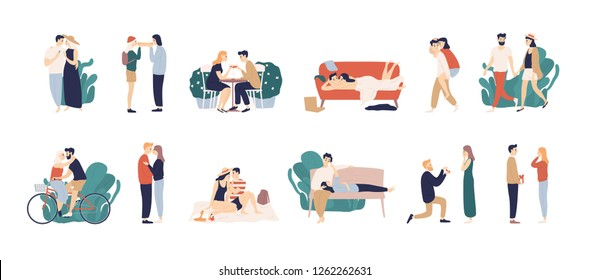 Bundle of scenes with adorable romantic couple. Man and woman kissing, hugging, riding bicycle, walking, eating, drinking cocktail, lying on sofa. Colorful illustration in flat cartoon style.